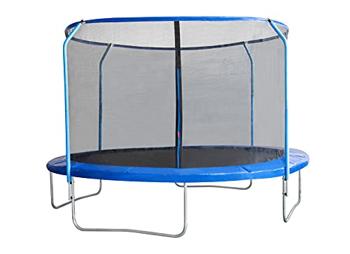 EUGAD Trampolino Elastico da Giardino Esterni Mini Trampolino da Gioco per Bambini con Rete di Sicurezza e Tappeto Elastico 244cm Blu 0003BC