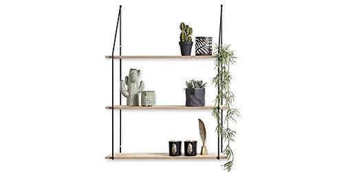 LIFA LIVING Estantería de Pared diseño Vintage, Madera y Metal, Decoración y almacenaje, Baldas flotantes para salón y Cocina, Distintos tamaños (3 estantes)