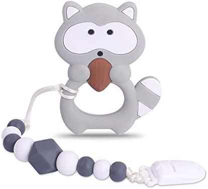 Baby Raccoon Teething Toys BPA Free Food Grade Silicone Teether with Pacifier Clip Highly Effective product image