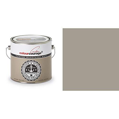 2,5 Liter Colourcourage Premium Wandfarbe Shore Rocks Gräulicher Braunton | L709449567 | geruchslos | tropf- und spritzgehemmt