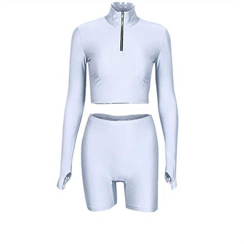 Damen Zweiteilige Outfits Kragen Hals Langarm Reißverschluss bauchfreies Top Shorts Hose Jogging-Sets -  Silber -  Groß
