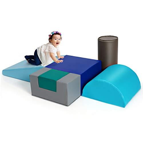 Goplus Set di 6 Blocchi, Giocattoli Educativi per Bambini, Blocchi con Forme e Colori Diversi, Giocattoli Grandi e Morbidi per Arrampicata (Stile 3)