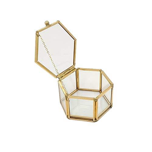 LOOEST Hexagonal Caja de Anillo de Cristal Transparente Caja de Anillo de Boda geométrico Castre de Vidrio Joyería Joyería Organizador Titular de la Mesa Contenedor Home (Color : Gold)