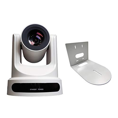PTZOptics 20X-SDI Broadcast and Conference Video Camera (White) with Wall Mount Bundle (2 Items)