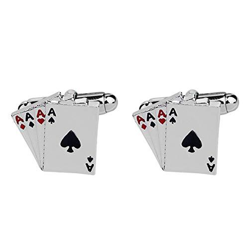 happyhouse009 Gemelli da Polso Uomo, Business Donna Uomo Poker Carte da gioco Camicia Manica Bottone Gemelli Abito Decor, Regalo di Natale Silver