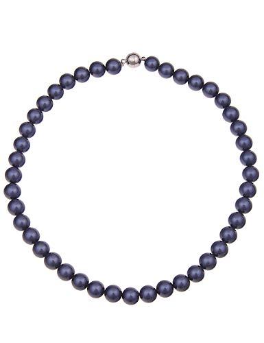 Leslii Damen-Kette Perlen-Collier Mallorca echte Perlen-Kette blaue Halskette kurze Modeschmuck-Kette in Blau Dunkelblau