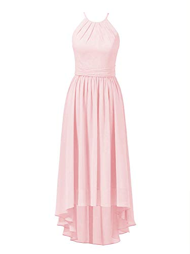 High Low Bridesmaid Dresses Halter Prom Party Dress Chiffon Evening Formal Gowns Sleeveless Pink US 22W