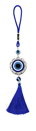 Bravo Team Evil Eye Hanging Charm Pendant for Good Luck and Protection, Comes with Traditional Blue and White Colors with Matching Tassels and Durable Cord for Hanging in Cars Or On Walls and Bags
