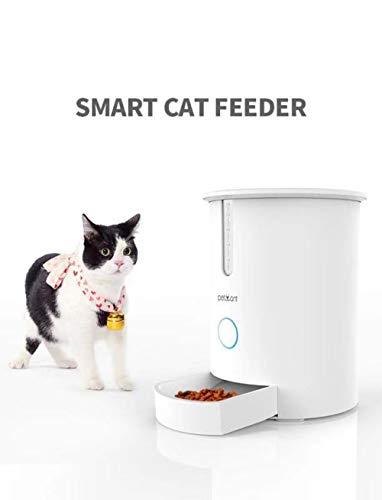 ksjdjok WiFi 2.8L Comida con Pantalla LCD Medio alimentador automático de Mascotas para Gatos y Perros de tamaño pequeño a Mediano dispensador de Alimentos a Control Remoto