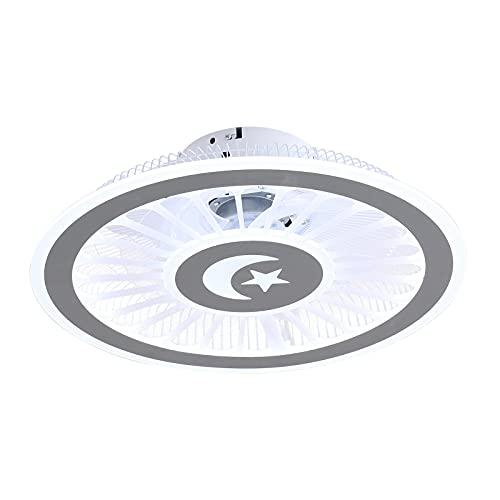 Ventilador de techo con iluminación, lámpara LED de techo, ventilador, luz con mando a distancia, 3 colores cambiantes, altura de montaje 16 cm