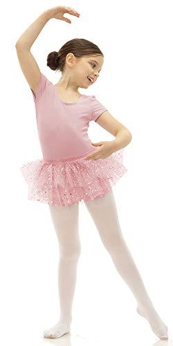 Broadway Kids Traje de Ballet de Manga Corta con Maillot, Leotardos y Tutú para Niña, Rosa 6-7 Años