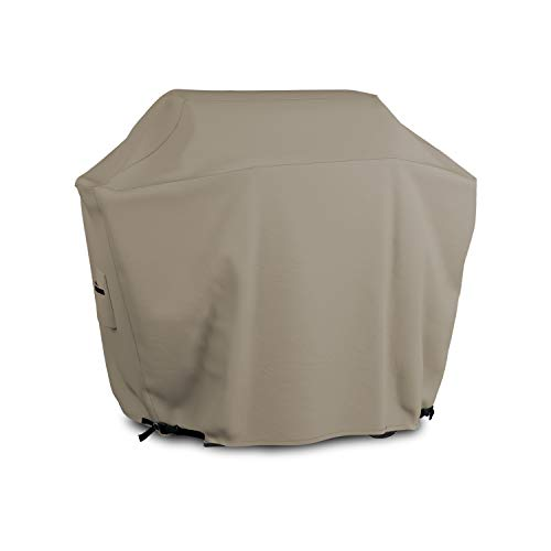 BBQ Grill Cover 12 Oz Waterproof - 100% UV & Weather Resistant Grill Cover, Fits Grill of Weber Brinkman Charbroil and More - with Air Pockets & Drawstring for Snug Fit (58 inch, Beige)