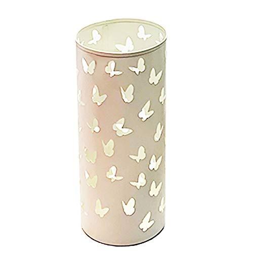 Acan - Paragüero metálico redondo, soporte para paraguas cilíndrico de hierro, diseño de mariposas. Ideal tanto para el hogar como para espacios públicos (Marfil, 17 x 39,5 cm)