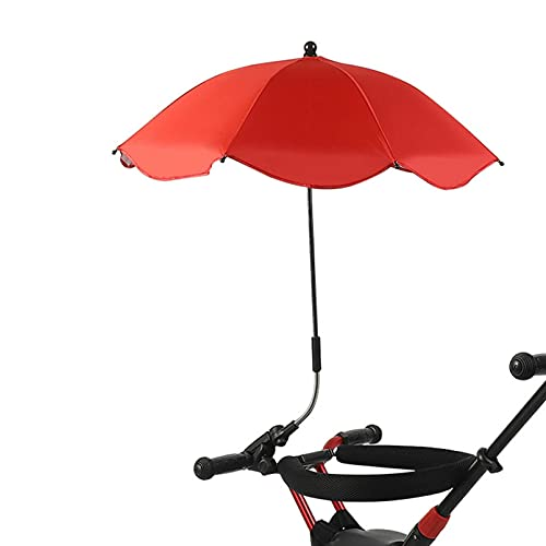 Parasol para Cochecito,Sombrilla Universal Carrito de Bebé para Protección UV,Parasol coche infantil lateral lateral grande,Paraguas universal para cochecito de bebé 78 * 49cm (Rojo)