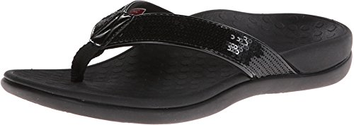 Vionic Women's Tide Sequins Toe Post Sandals - Ladies Flip Flop Sandals with Concealed Orthotic Arch Support Black 9 Medium US