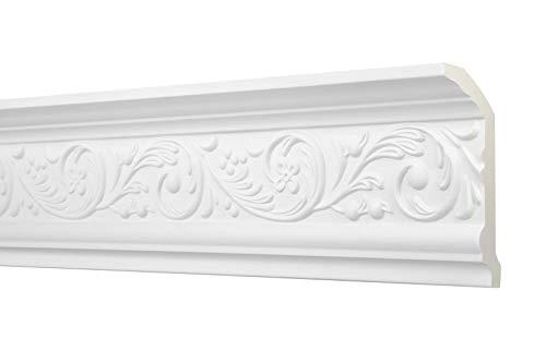 2 Meter Zierprofil 112x64mm - Stuckleiste aus PU gemustert, weiß, stoßfest - AA018 Hexim Perfect - Eckleiste Dekorleiste Stuckprofil Zierleiste