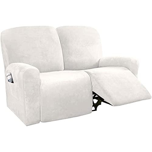 ZGDDPZA Fundas Reclinables de 6 Piezas, Funda Reclinable de Terciopelo, Funda para Sofá Protector de Muebles con Fondo Elástico Ajuste de Forma Estiramiento Elegante Suave (Color : Off-White)