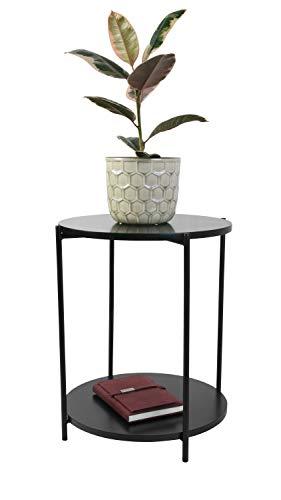 DAY - USEFUL EVERYDAY Beistelltisch, Wohnzimmertisch, Rundtisch, Blumenständer Skandinavisches Design schwarz aus MDF mit PVC Ø40xH50CM