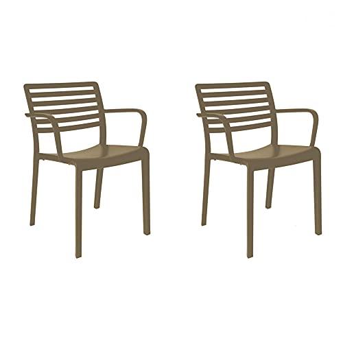 RESOL Lama Set 2 Sillas Comedor Exterior o Interior | Jardín, Terraza, Patio, Balcón, Comedor | Apilable - Ligera y Resistente | Diseño Moderno | con Reposabrazos - Chocolate