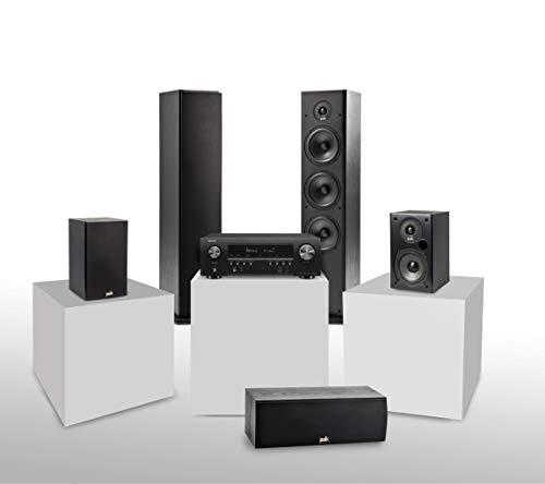 Denon AVR-S750H 7.2-Kanal AV-Receiver + Polk Audio T15 Regal-Lautsprecher (Paar) schwarz + Center-Lautsprecher, schwarz + Stand-Lautsprecher, schwarz (2 Stück)