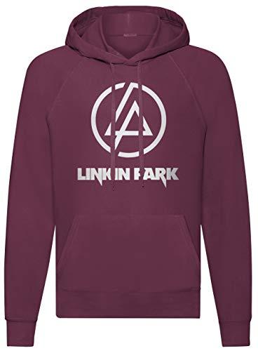 LaMAGLIERIA Unisex-Hoodie Linkin Park Classic Logo White Print - Kapuzenpullover Rock Metal Band, M, Burgundy