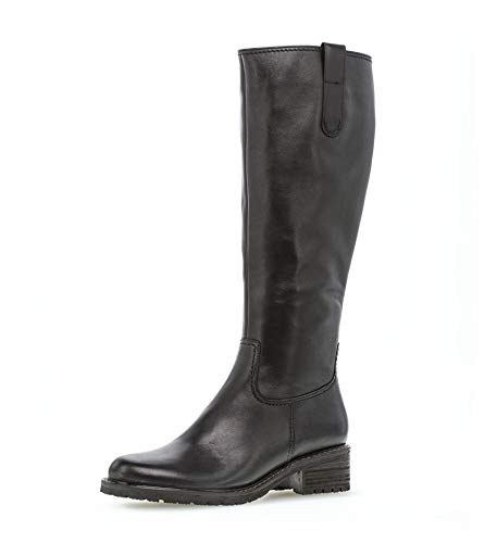 Gabor Damen elegante Stiefel, Frauen Boots,Mehrweite, boots lederstiefel langschaftstiefel reißverschluss,schwarz (Mel.),41 EU / 7.5 UK