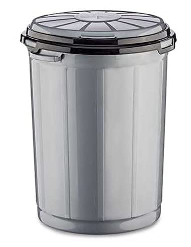 TU TENDENCIA UNICA Cubo de Basura de Plástico con Tapa y Asas. Contenedor de Residuos tanto para Interior como Exterior (Metalizado, 35 litros)