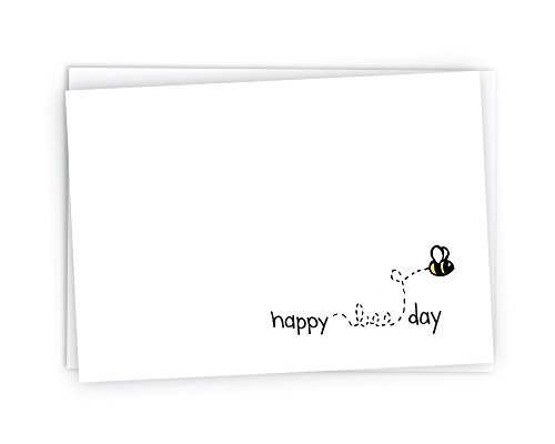 Happy Bee-Day Bumble Bee Birthday Cards - 24 Cards & Envelopes