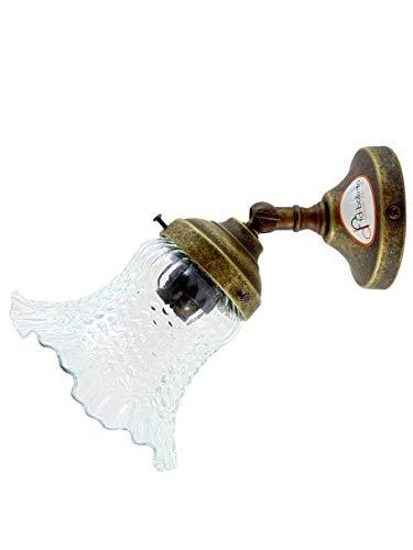 Applique ottone brunito,lampada da parete stile liberty con vetro trasparente an21 Misure:Sporgenza 20,5cm,Ø vetro13,5cm,Ø base 8cm.Le misure sono con vetro.Portalampada attacco Edison E14