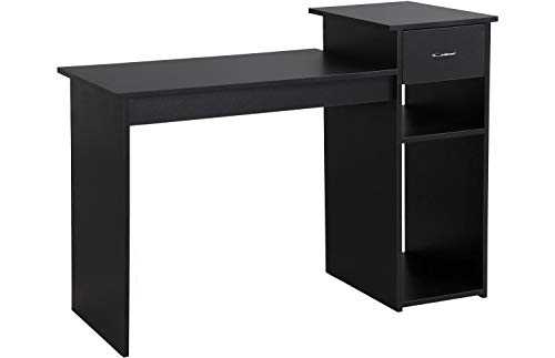 Topeakmart Modern Computer Desk, 47 inch Home Office Computer Desk, Study Writing PC Table Workstation with Drawers and Printer Shelf for Small Spaces, Home Office Furniture