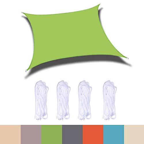 Sun Shade Sail Rectangle 2m x 4m Patio Canopy Cover -UV Block Sun Permeable Fabric Durable - for Patio, Garden, Yard, Pergola