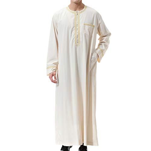 Uomo Musulmano Etnici Caftano Uomini Arabo Thobe Jalabiya Vestito Lunghi Eid Preghiera Abaya Dubai Abbigliamento Maschile Vintage Lunga Camicia Chiusura Frontale con Cerniera Festa Dress