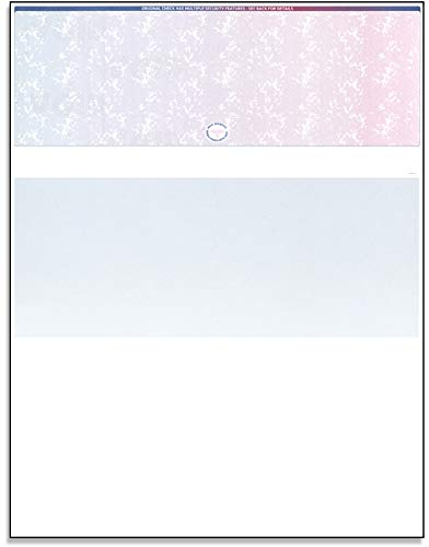 Blank Computer Checks for Laser & Ink Jet Printers, Pack of 100 Sheets (Red/Blue Prismatic Top)