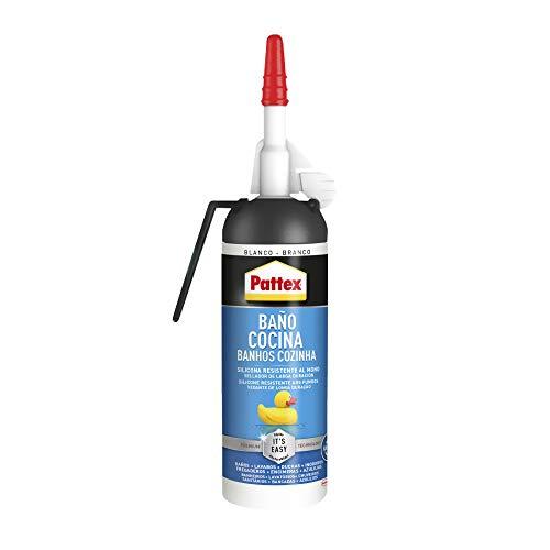 Pattex Baño y Cocina, silicona blanca resistente al moho, sellador impermeable para ducha, lavabo y más, silicona para baño duradera y fácil de usar, 1 Air Pulse x 100 ml