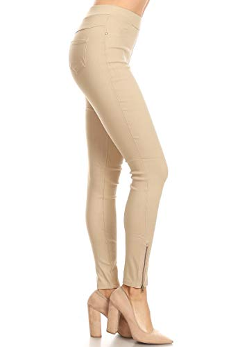 Women's Skinny Strechy Pull-On Ankle Zip Jeggings Khaki Large