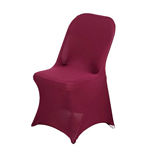 Efavormart 50PCS Stretchy Spandex Fitted Folding Chair Cover Dinning Event Slipcover for Wedding Party Banquet Catering- Burgundy