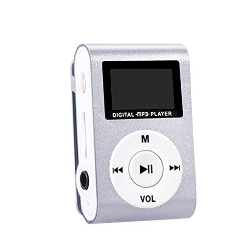 Hukz MP3 beweglicher Spieler - mit Mini LCD-Schirm und Memory Einbauschlitz, maximale Unterstützung 32GB Memory Micro SD TF Karte (Silber, 45 X 31 X 15 mm)