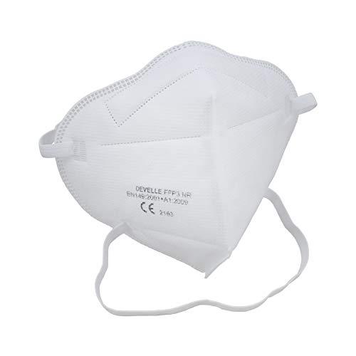 Schutzmaske FFP3 Atemschutzmaske DEVELLE 20 Stück Packung Schutz Maske mit Kopfband