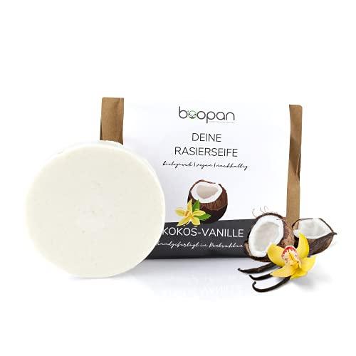 *NEU* boopan® Rasierseife mit Kokos-Vanille handgefertigt in Deutschland - bio Rasierseife Damen & Herren - vegan, plastikfrei, natürlich - 60g (Kokos-Vanille)