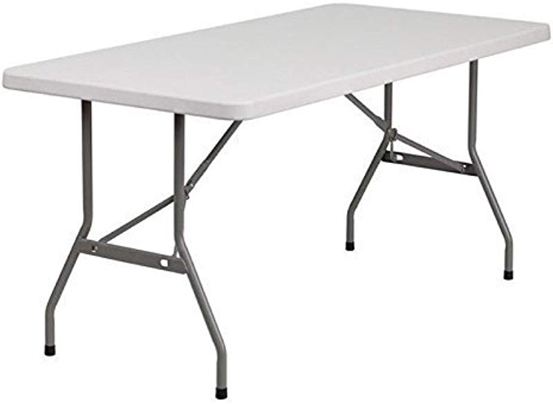 Flash Furniture 30 W X 60 L Granite White Plastic Folding Table
