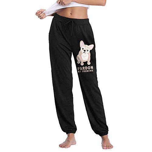 ANWK2-1 Pardon My Frenchie Women's Girl Cotton Drawstring Elastic Sweatpants Baggy Joggers Pants Yoga Lounge with Pockets Black