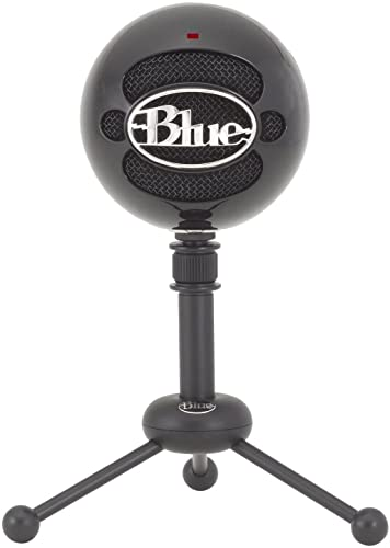 Blue Snowball USB Microphone with Two Versatile Pickup Patterns and Stylish, Retro Design for Recording, Streaming & Podcasting on PC & Mac – Gloss Black
