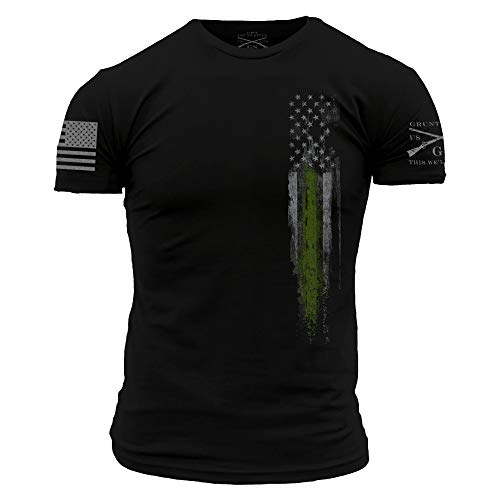 Grunt Style Support First Responders Line Flag Men's T-Shirt (Black - Federal Law Enforcement, Large)