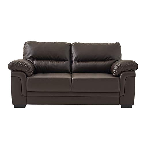 Panana Modern 3 Seater Sofa Faux Leather Comfortable Sofa Couch Settee Suite Chair Living Room Reception Room Brown