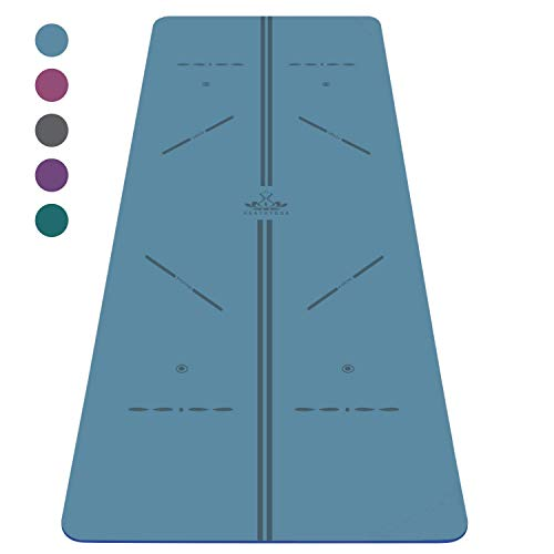 """Heathyoga ProGrip Non Slip Yoga Mat with Alignment Lines, Revolutionary Wet-Grip Surface & Eco Friendly Material, Perfect for Hot Yoga and Bikram, Free Carry Bag 72""""X26"""" (Sea Blue)"""