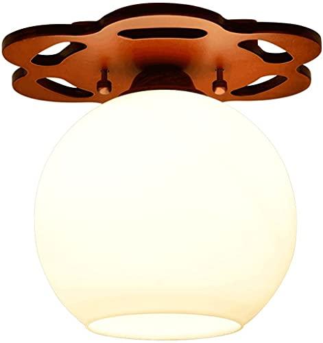 Lámpara de techo con luz de techo de la sala de estar, lámpara de techo de vidrio de madera maciza redonda, lámpara de techo de balcón de pasillo de madera simple