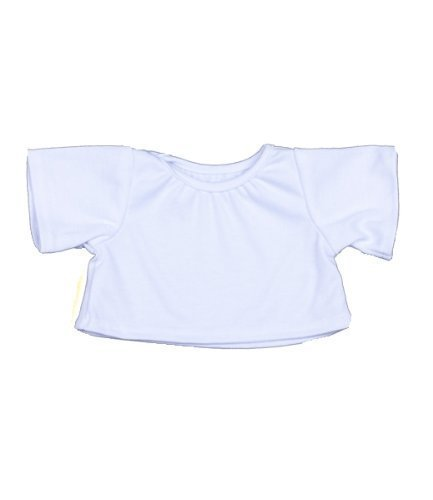"""BEAREGARDS.COM LOT of 12 White T-Shirt Outfit Teddy Bear Clothes Fits Most 14"""" - 18"""" Build-a-Bear, Vermont Teddy Bears, and Make Your Own Stuffed Animals"""
