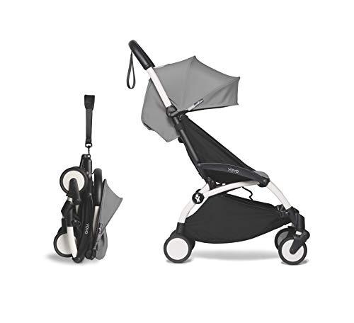 BABYZEN YOYO2 6+ Stroller - White Frame with Grey Seat Cushion & Canopy