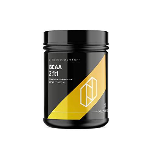 Neosupps BCAA 180 Tabletten   Premium Qualität   Muskelaufbau   Training   Muskelerhalt   Professional Masseaufbau, Größe:180 Kapseln