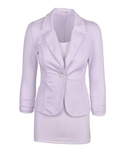Shaoyao Donne Casual Slim Fit Colore Puro Blazer Cappotto Maniche Lunghe Business Giacca Bianco L
